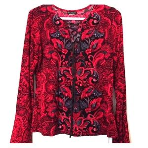 Red and Black Long Sleeve Venus Blouse